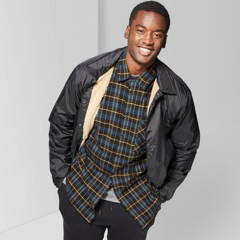 Men's Big & Tall Casual Fit Sherpa Lined Snap Front Coat Jacket - Original Use™ - Black - image 1 of 3