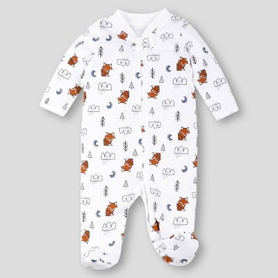 Lamaze Baby Boys' Organic Cotton Fox Thermal Pajama Jumpsuit - White Newborn