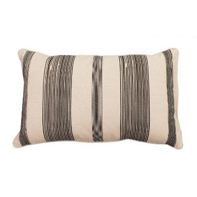 Levi Stripe Lumbar Throw Pillow Black - Décor Therapy