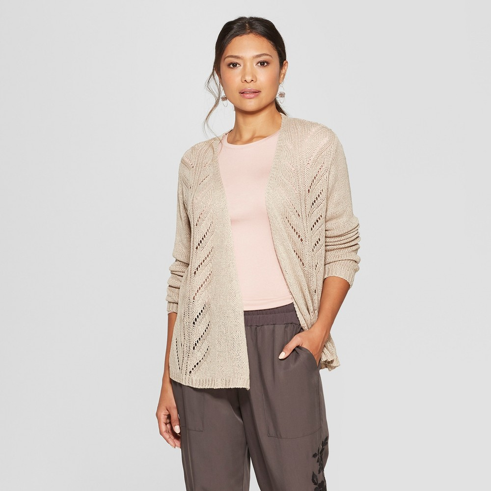 Women's Long Sleeve Open Stitch Pointelle Detail Cardigan - Knox Rose Taupe M, Beige