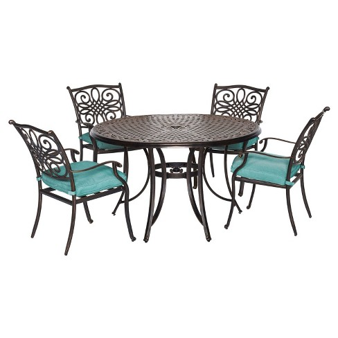Traditions 5pc Round Metal Patio Dining Set - Blue- Hanover - image 1 of 9
