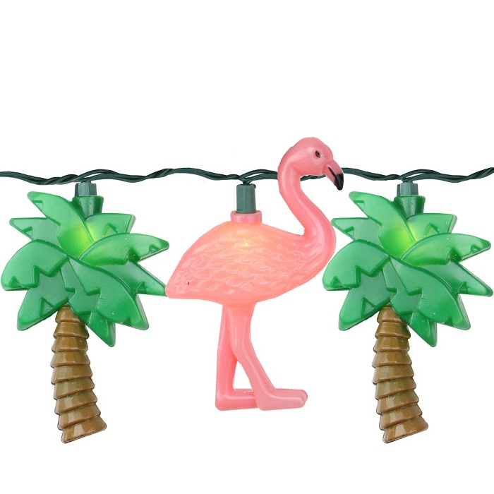 J. Hofert Co Set of 10 Flamingo and Palm Tree Summer Patio Novelty Lights - Green Wire - image 1 of 1