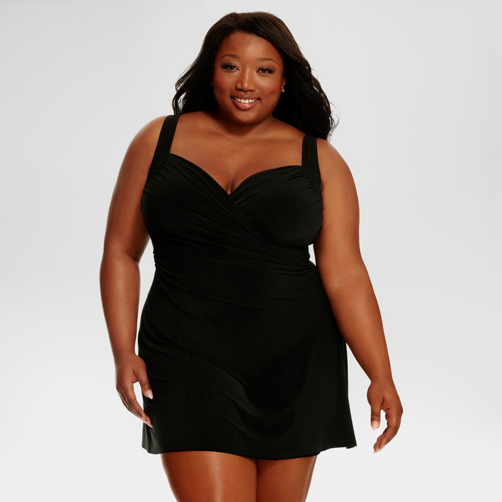 Retro Plus Size Swimsuits Plus Size Dreamsuit by Miracle Brands Womens Plus Slimming Control Swim Dress - Black 20W $69.99 AT vintagedancer.com