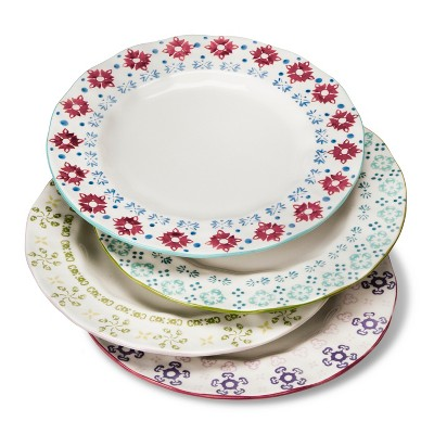 Abigail Floral Assorted Dinner Plates 10.3 x10.3  - Set of 4