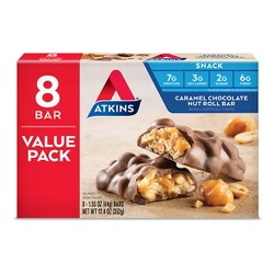 Atkins Nutrition Bar - Caramel Chocolate Nut Roll - 8ct
