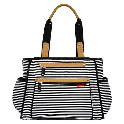 Skip Hop Grand Central Take-It-All Diaper Bag Black & White Stripe