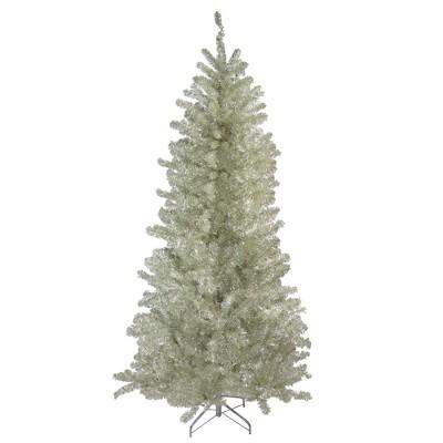 Northlight 9' Unlit Artificial Christmas Tree Metallic Sheer Champagne Tinsel