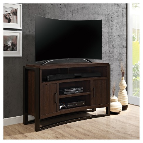 Curved Wood 55 Tv Stand With Storage Brown Oak Finish Home Source