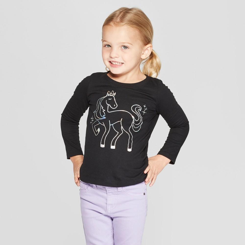 Toddler Girls' Long Sleeve 'Pegasus' Graphic T-Shirt - Cat & Jack Black 2T