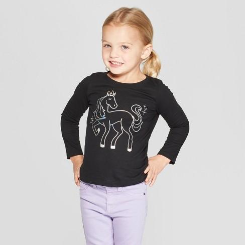06536d891 Toddler Girls  Long Sleeve  Pegasus  Graphic T-Shirt - Cat   Jack™ Black