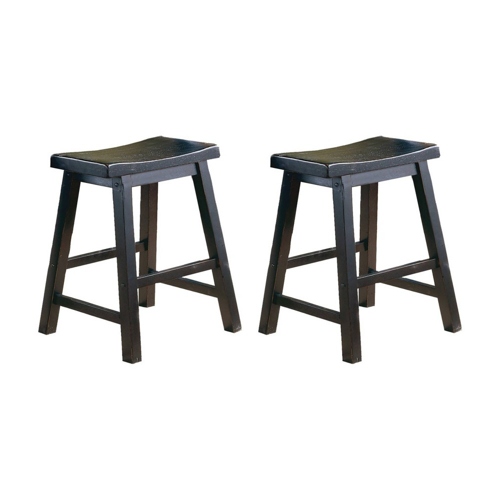 "Image of ""18"""" Set of 2 Wooden Counter Height Stool with Saddle Seat Black - Benzara"""
