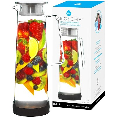 GROSCHE BALI Water Infuser Pitcher with Stainless Steel Filter Lid, 50 fl oz. Capacity.