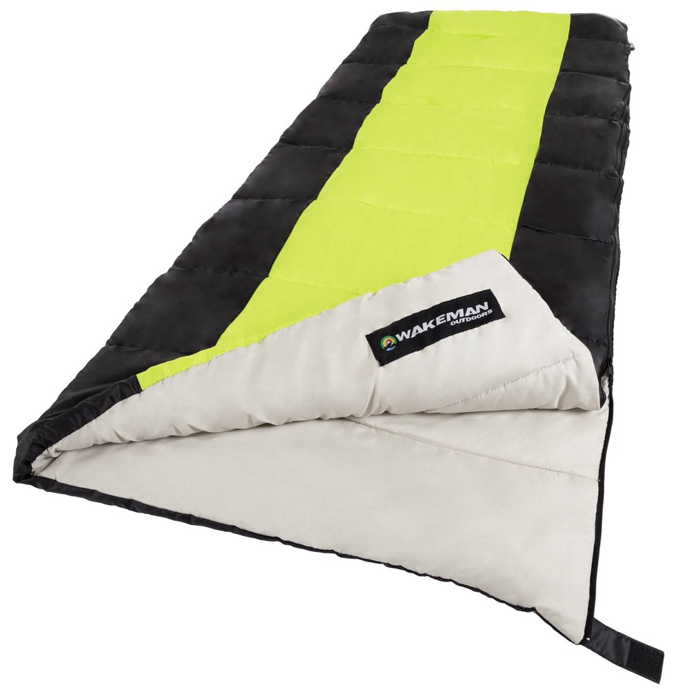 Image of Wakeman 2-Season 50 Degrees Fahrenheit Adult Sleeping Bags - Neon Green