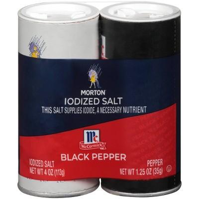 Morton Iodized Salt & Pepper Shakers - 5.25oz