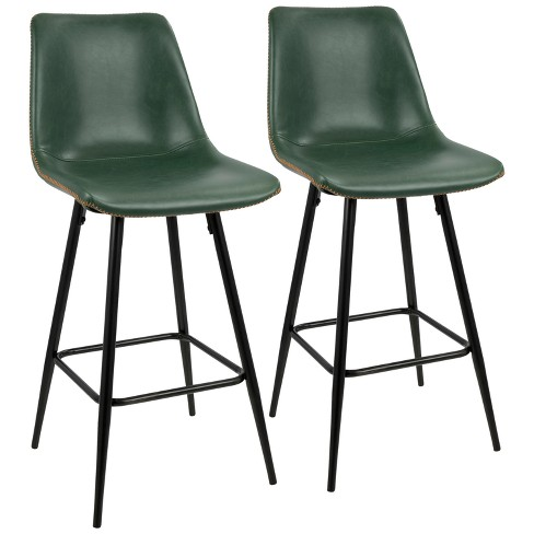 Set of 2 Durango Contemporary Counter Height Barstool Black/Green - LumiSource - image 1 of 4