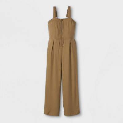 Girls' Zip Front Twill Jumpsuit - art class™ Olive Green