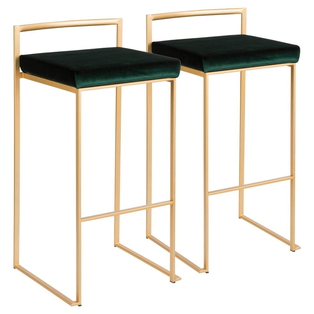 Set of 2 Fuji Contemporary Barstool Gold/Black Velvet - LumiSource