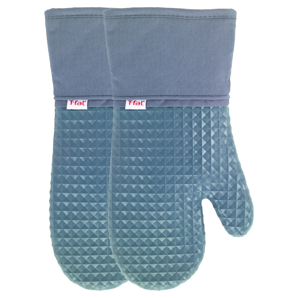 2pk Gray Waffle Silicone Oven Mitt - T-Fal, Charcoal Heather