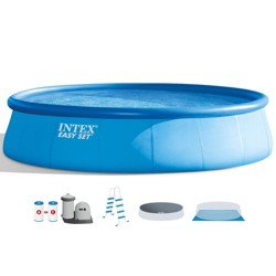 Intex 18 Foot x 48 Inch Inflatable Easy Set Round Above Ground Swimming Pool Set