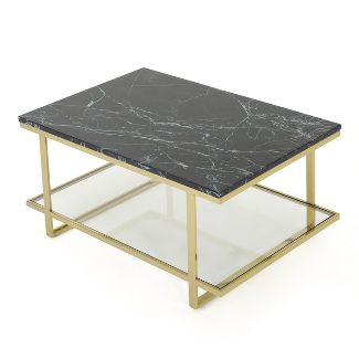Mytch Modern Marble Coffee Table Gold Finish - Christopher Knight Home