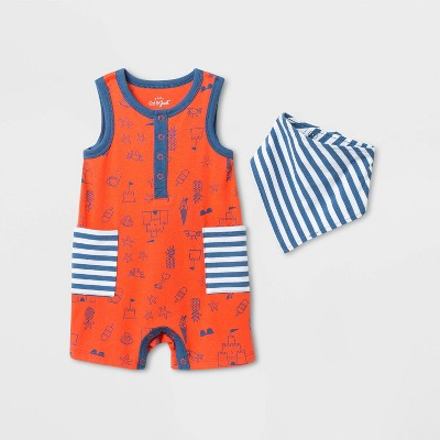 Baby Boys' Striped Henley Romper with Bib - Cat & Jack™ Blue 0-3M