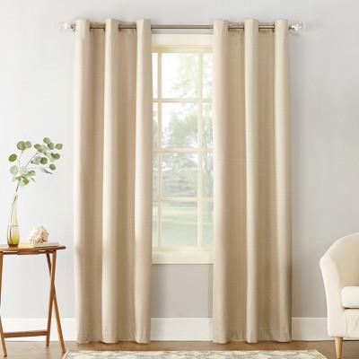 """95""""x40"""" Cooper Textured Thermal Insulated Grommet Top Room Darkening Curtain Panel Beige - Sun Zero"""