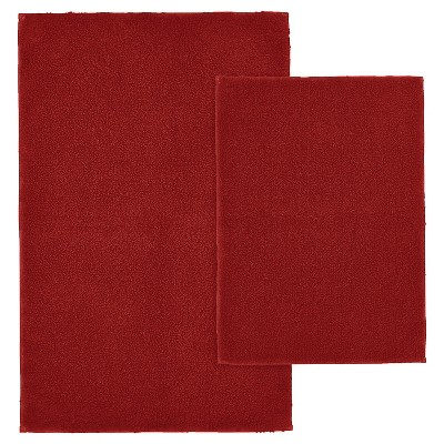 2pc Queen Cotton Washable Bath Rug Set Red - Garland