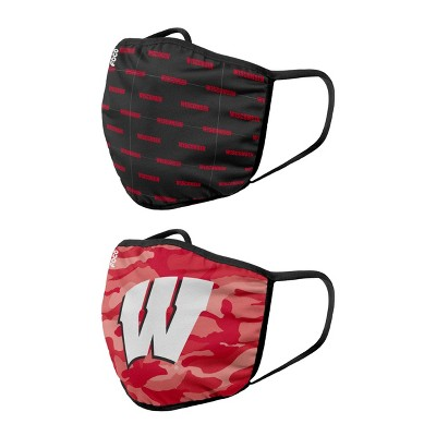 NCAA Wisconsin Badgers Adult Face Covering 2pk