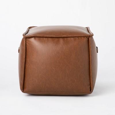 Evanston Leather Cube Pouf - Threshold™ designed with Studio McGee