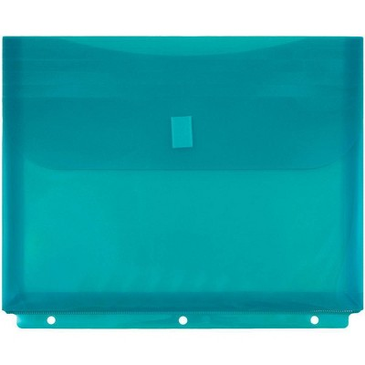 JAM Paper 12pk Plastic 3 Hole Punch Binder Envelopes with Hook & Loop Closure - Letter Booklet - Teal
