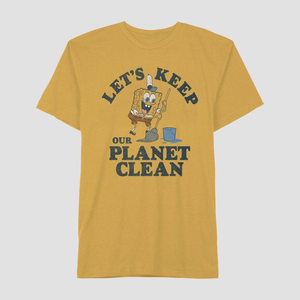 Image of Men's SpongeBob Let's Keep Our Planet Clean Short Sleeve Graphic T-Shirt - Gold 2XL, Men's