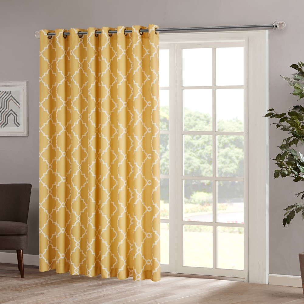 "Image of ""100""""x84"""" Sereno Fretwork Print Blackout Extra Wide Curtain Panel Yellow"""