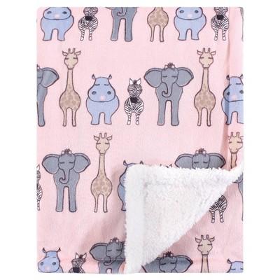 Hudson Baby Unisex Baby Plush Blanket with Sherpa Back - Pink Safari One Size