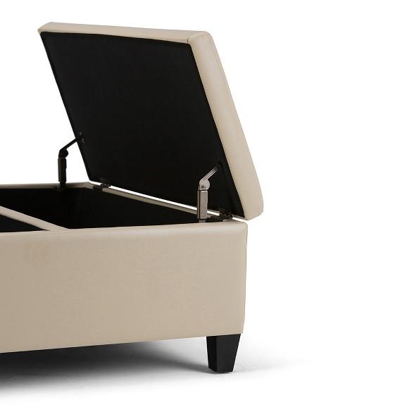 Superb Tyler Coffee Table Storage Ottoman Satcream Faux Leather Wyndenhall Inzonedesignstudio Interior Chair Design Inzonedesignstudiocom