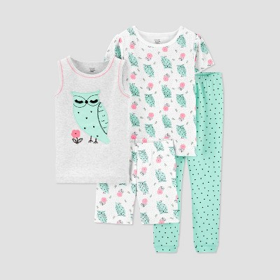 Baby Girls' 4pc Owl Pajama Set - Just One You® made by carter's Gray 9M