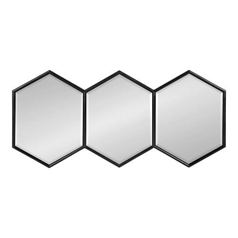 "14""x30"" Royce Horizontal Hexagon Mirror Black - Kate and Laurel - image 1 of 4"