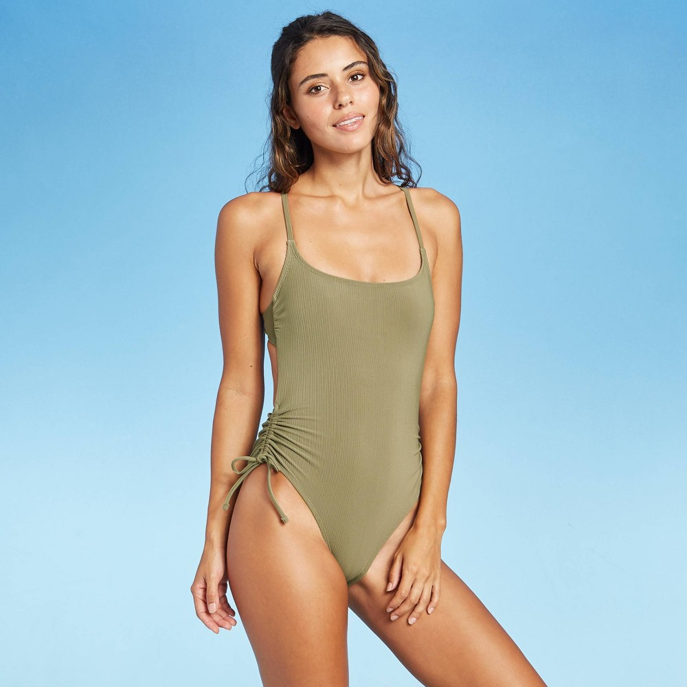 Juniors 39 Ribbed Side Cinch One Piece Swimsuit Xhilaration 8482 Olive Green M
