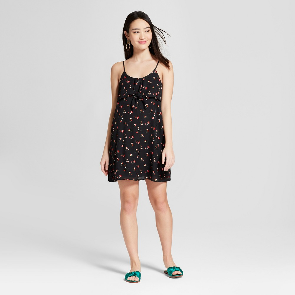 Women's Floral Tie Front Shift Dress - Everly Clothing (Juniors') Black M