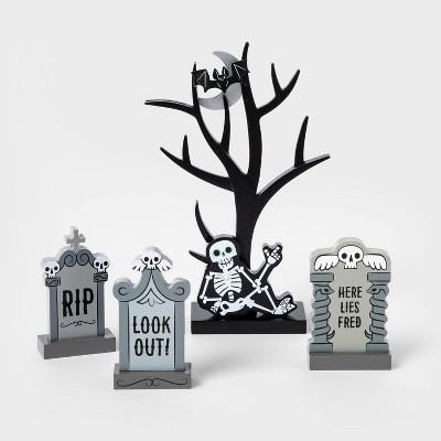 4pk Tree/Gravestones Mini Mantel Halloween Decor Set - Hyde & EEK! Boutique™