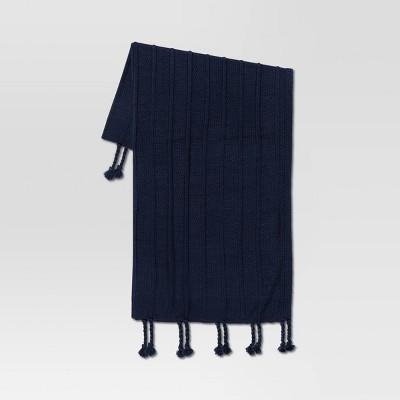 "50""x60"" Braided Tassel Knit Throw Blanket Blue - Threshold™"