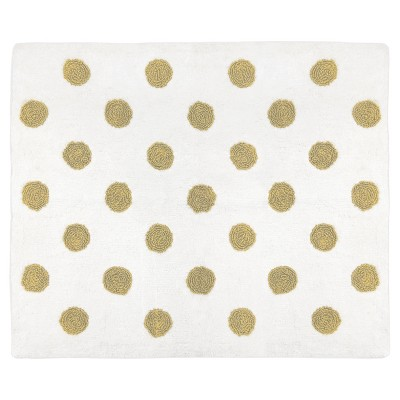 White & Gold Polka Dot Rug (2'x3')- Sweet Jojo Designs®