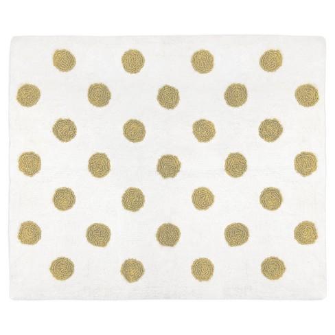 White & Gold Polka Dot Rug (2'x3