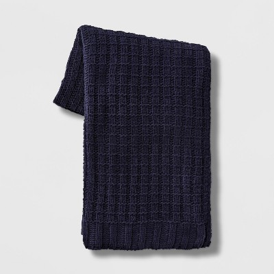 Solid Chenille Throw Blanket Navy - Threshold™