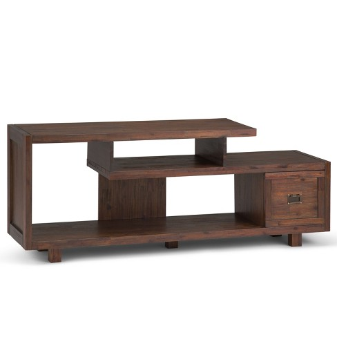 """Garret Solid Acacia Wood TV Media Stand Distressed Charcoal Brown For TVs up to 65"""" - Wyndenhall - image 1 of 9"""
