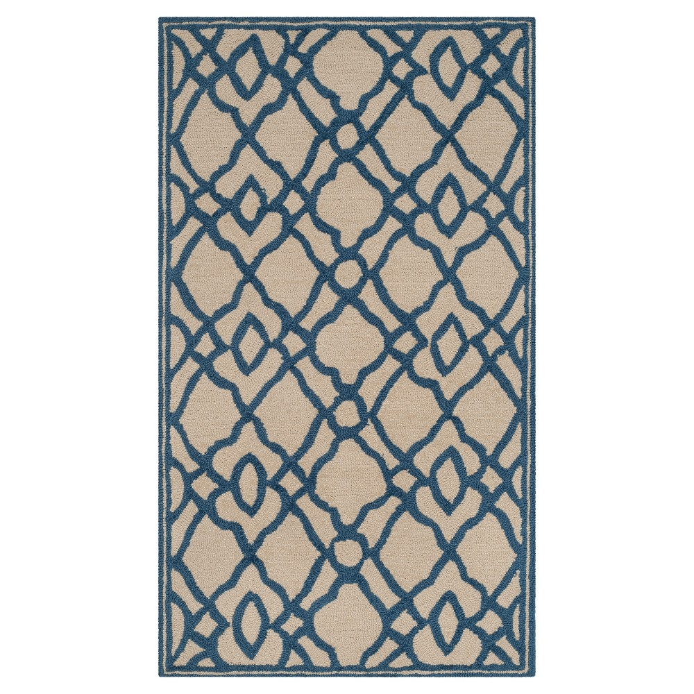 Ivory/Blue Abstract Hooked Area Rug - (5'x7') - Safavieh