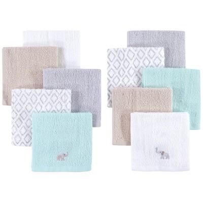 Hudson Baby Infant Unisex Super Soft Cotton Washcloths, Elephants, One Size