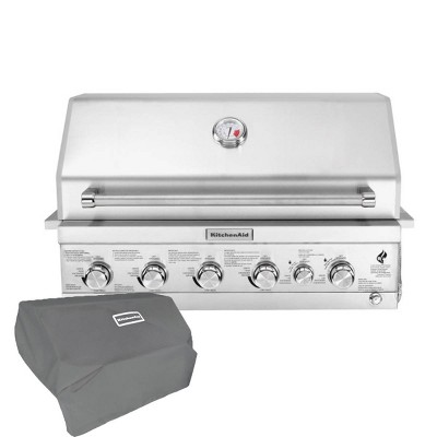 KitchenAid 740-0781CO Premium 4 Burner Built-in Head with Rotisserie and Searing Main Burner with Grill Cover