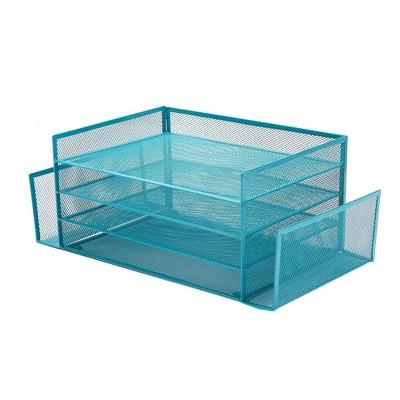 Mind Reader Mesh 4 Section 2 Side Desk Organizer Turquoise