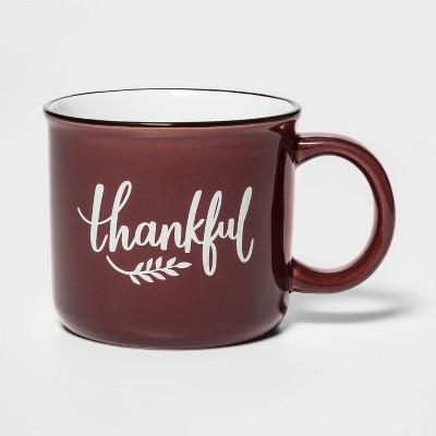15oz Stoneware Thankful Camper Mug Red - Threshold™