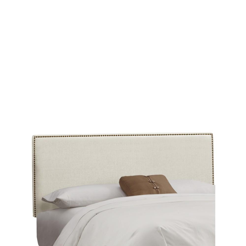 Twin Bella Nail Button Border Headboard Talc Linen with Brass Nailbuttons - Skyline Furniture Cheap